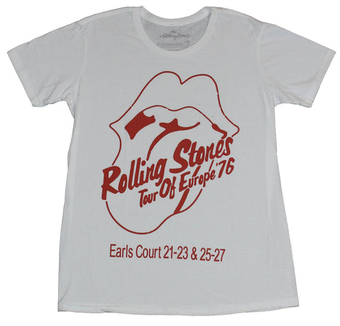 The Rolling Stones Mens T-Shirt - Tou of Europe Earls Court Tongue Logo 76