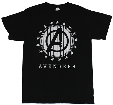 The Avengers (Marvel Comics) Mens T-Shirt - Circled Starred White Lined Logo