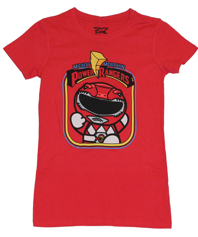 Mighty Morphin Power Rangers Girls Juniors  T-Shirt -  Squashed Red Ranger Image