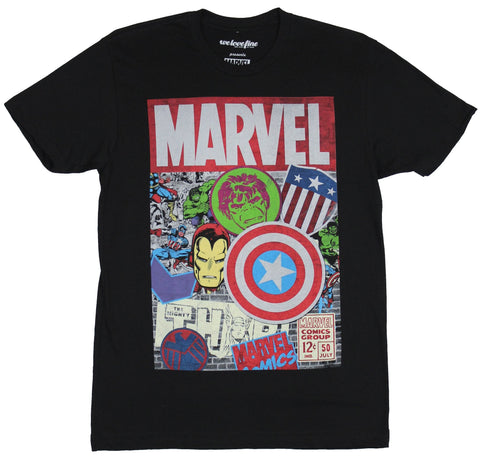 Marvel Comics Mens T-Shirt - Boxed Under Marvel Logo Panel Collage