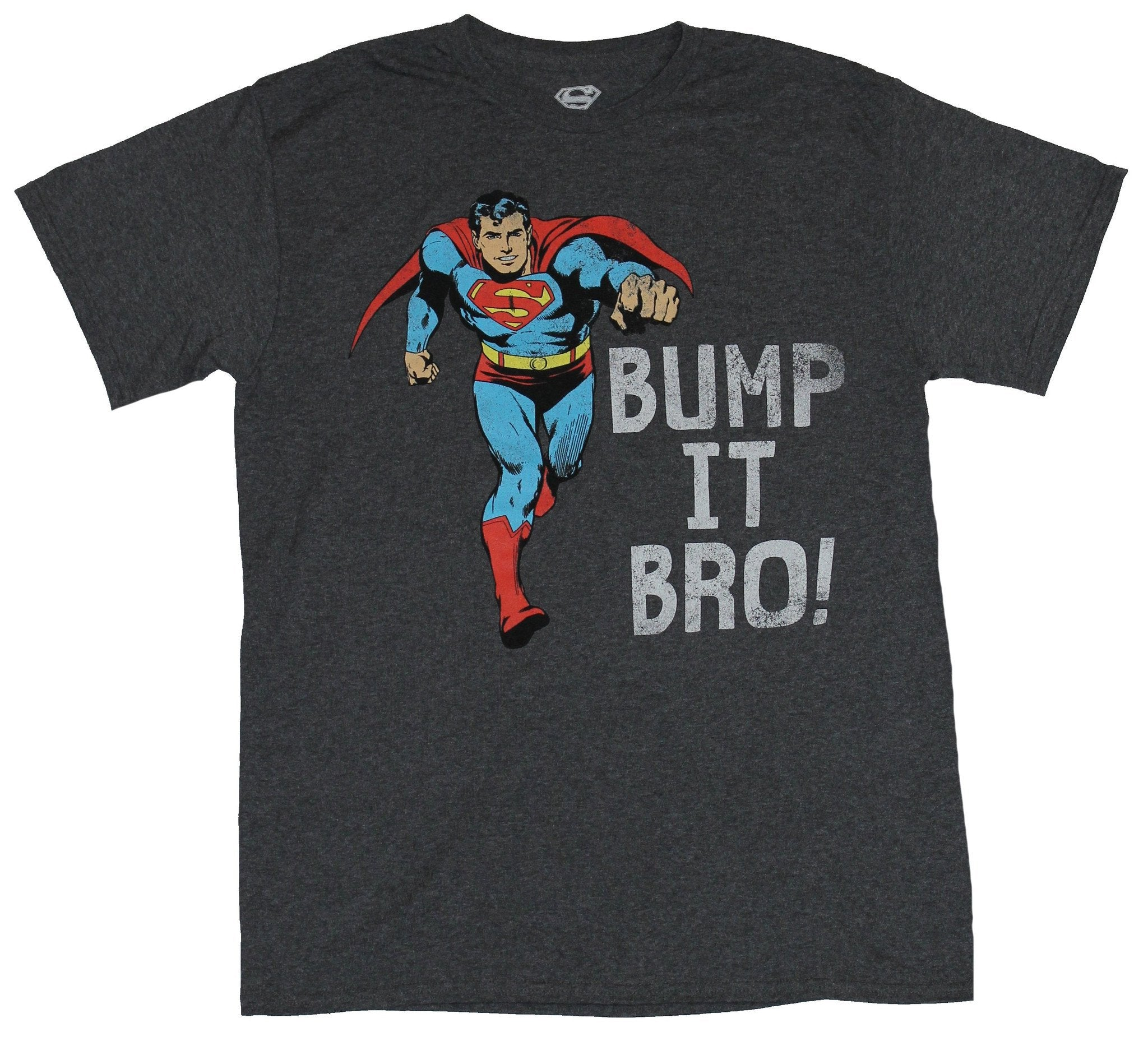 Superman (DC Comics)  Mens T-Shirt - Bump It Bro Fist Bumping Superman Image