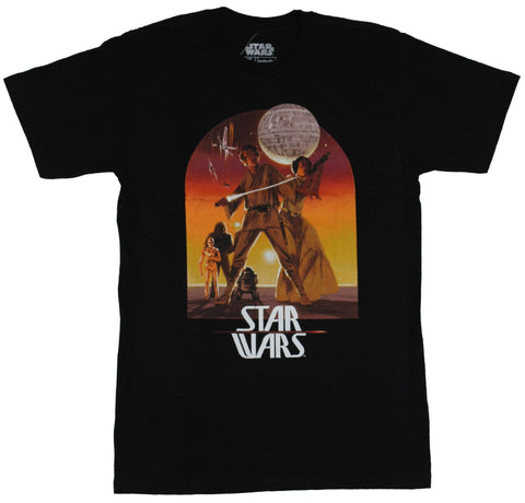 Star Wars Mens T-Shirt - Luke and Leia Red Sunset Tatooine Death Star