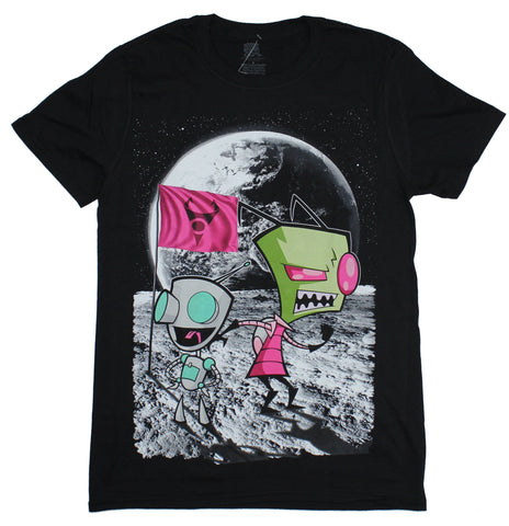 Invader Zim  Mens T-Shirt - Zim & Gir Posed on The Moon Image