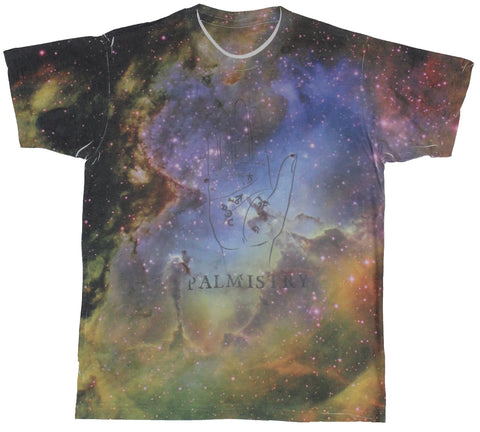 Palmistry Mens T-Shirt -  Spacy Palm Image Allover
