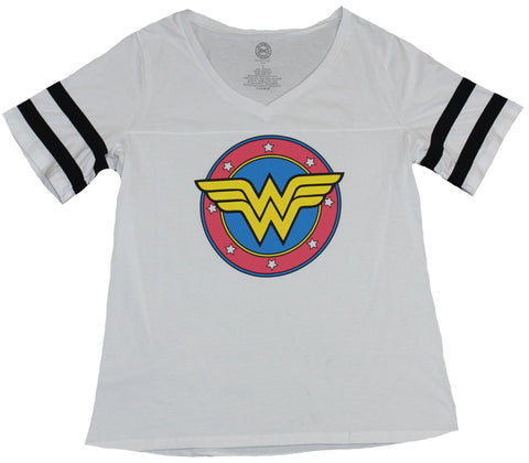 Wonder Woman Womens T-Shirt - Circle WW Yellow in Red Blue Circle