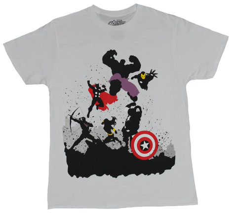 The Avengers (Marvel Comics) Mens T-Shirt - Silhouette Attacking Action Heroes