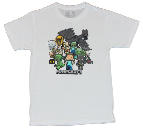 Minecraft Mens T-Shirt - Approaching Colorful Cast of Characters Image