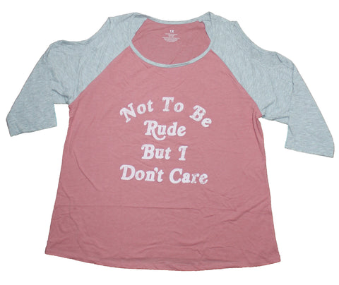 Girls Juniors Raglan T-Shirt - Not to Be Rude But I Don't Care