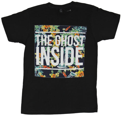 The Ghost Inside Mens T-Shirt - White Word Logo Over Multi Color Floral