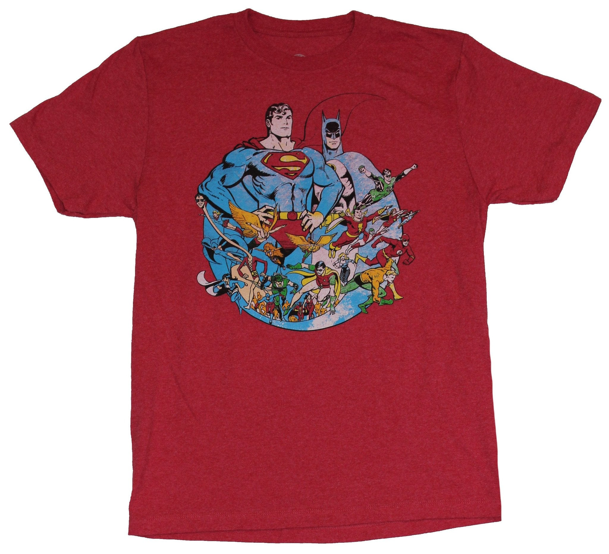 Dc Comics Mens T-Shirt - Distressed Superman Batman Circle Army of Heroes Image