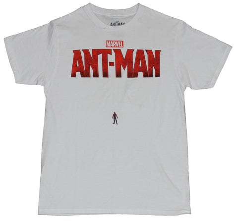 Ant-Man (Marvel Comics) Mens T-Shirt - Tiny Ant-Man Under Huge Ant-Man Logo