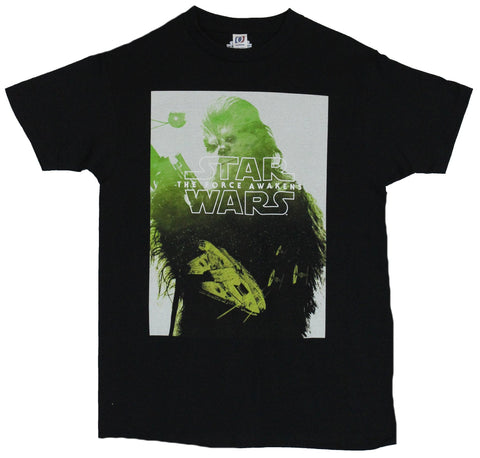 Star Wars Force Awakens Mens T-Shirt - Green Tinted Chewbacca Box Image