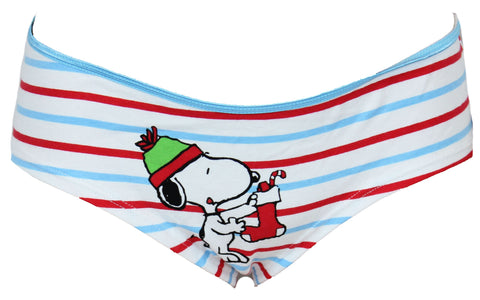 Peanuts Snoopy Stocking Hanging Stripped Cotton Brief Panty Girls Underwear (Large)