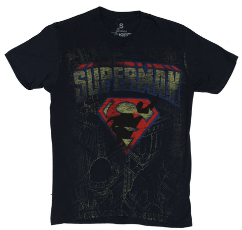 Superman (DC Comics) Mens T-Shirt - Distressed Logo over Daily Planet Sketch