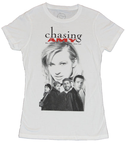 Chasing Amy Girls Juniors T-Shirt - Classic Black and White Movie Poster Image