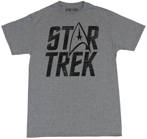 Star Trek Mens T-Shirt - Simple Word Logo With Star fleet A Image
