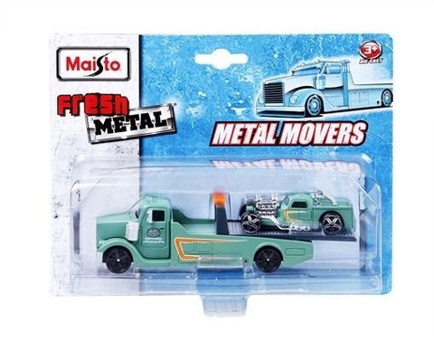 Maisto Fresh Metal Meal Movers Side Street Motors Hot Rod Hauler Green