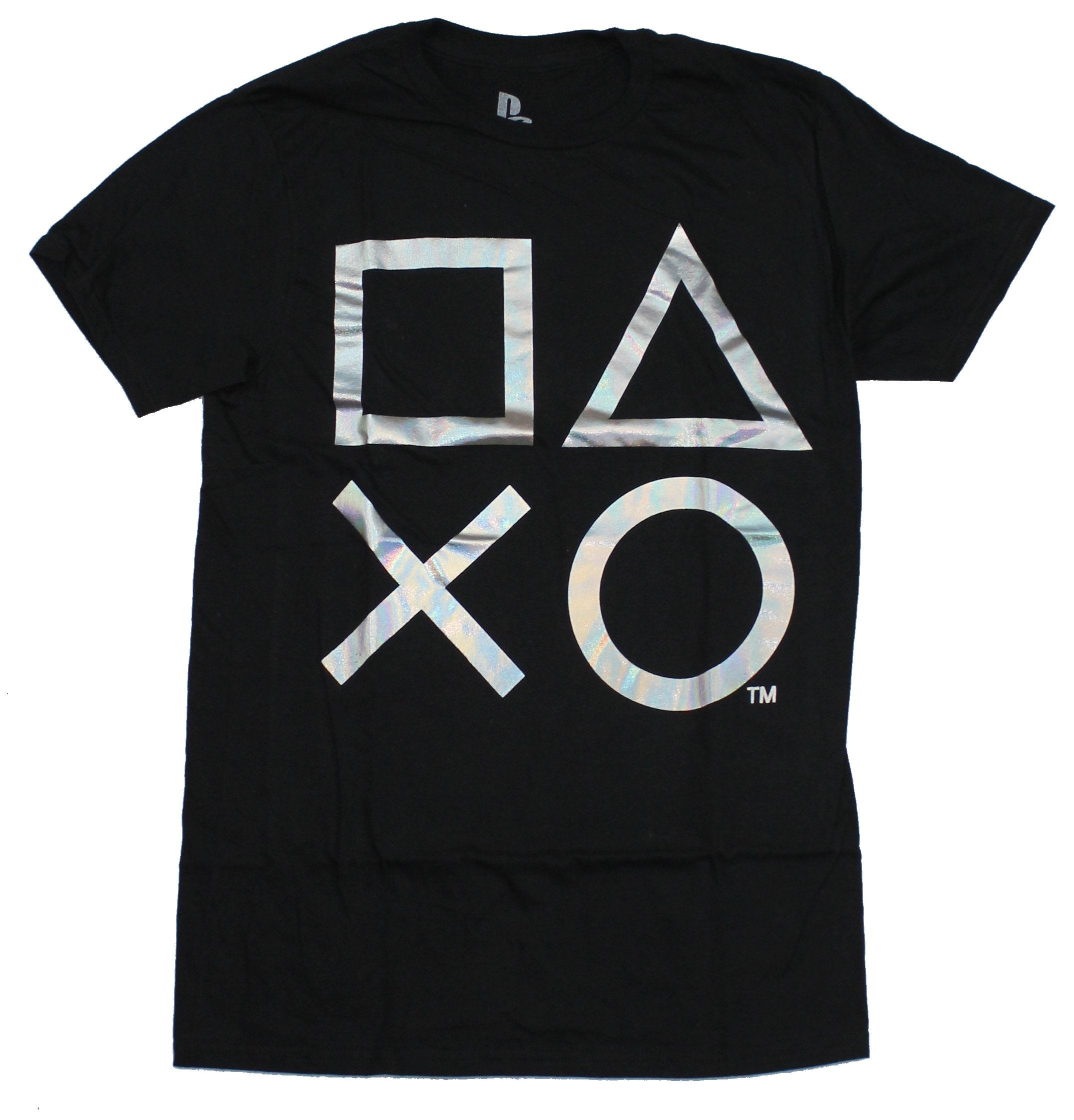 PlayStation Mens T-Shirt -  Silver Foil Button Logos Image