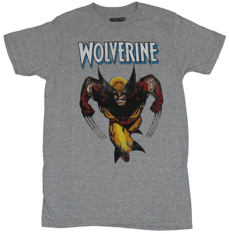 Wolverine (Marvel Comics) Mens T-Shirt - Charging Wolvy Under White Letter Logo
