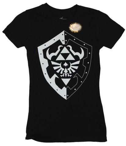 The Legend of Zelda Girls Juniors T-Shirt - Black and White Hylian Shield Image