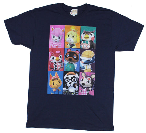 Animal Crossing Mens T-Shirt - Colorful Nine Character Selection Box Image
