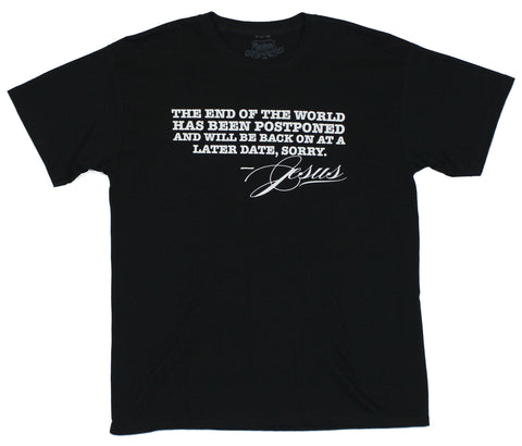 "Jesus Mens T-Shirt - ""the End Of the World Has Been Postponed"""