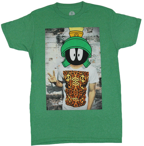 Marvin the Martian Mens T-Shirt - Marvin Head on a Tiger Print Wearing Hipster