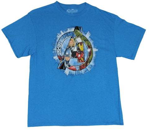The Avengers (Marvel Comics) Mens T-Shirt - Color Heores In Shining A Logo