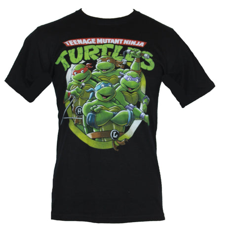 Teenage Mutnat Ninja Turtles Mens T-Shirt - TMNT Four Turtles in Circle Logo