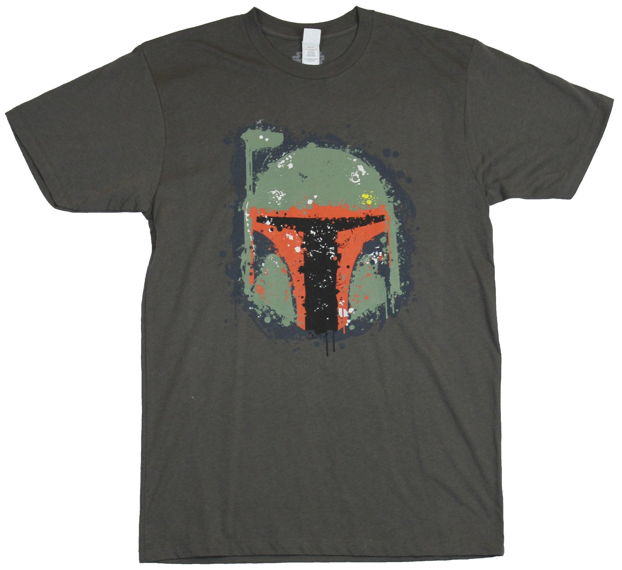 Star Wars Mens T-Shirt - Boba Fett Spalttery Green Red Helmet Image