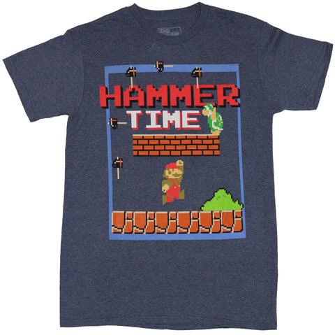 Super Mario Brothers Mens T-Shirt - Hammer Time Mario Battles Hammer Brother