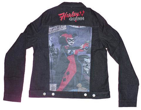 Harley Quinn Girls Juniors Denim Jacket - Image and Embroidered Patches