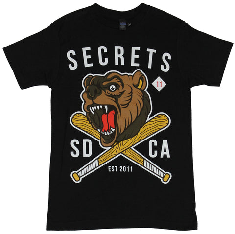 Secrets (Band) Mens T-Shirt - SD CA Crossed Bat Bear Face Image