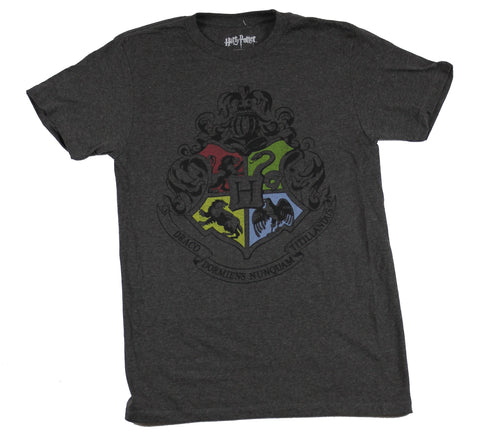 Harry Potter  Mens T-Shirt - Hogwarts Simple Stlyed Four House Crest