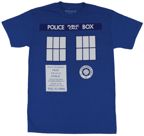 Doctor Who Mens T-Shirt - Classic Police Call Box Image Allover Image