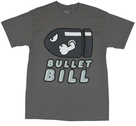 Super Mario Brothers  Mens T-Shirt - Cartoon Bullet Bill Image