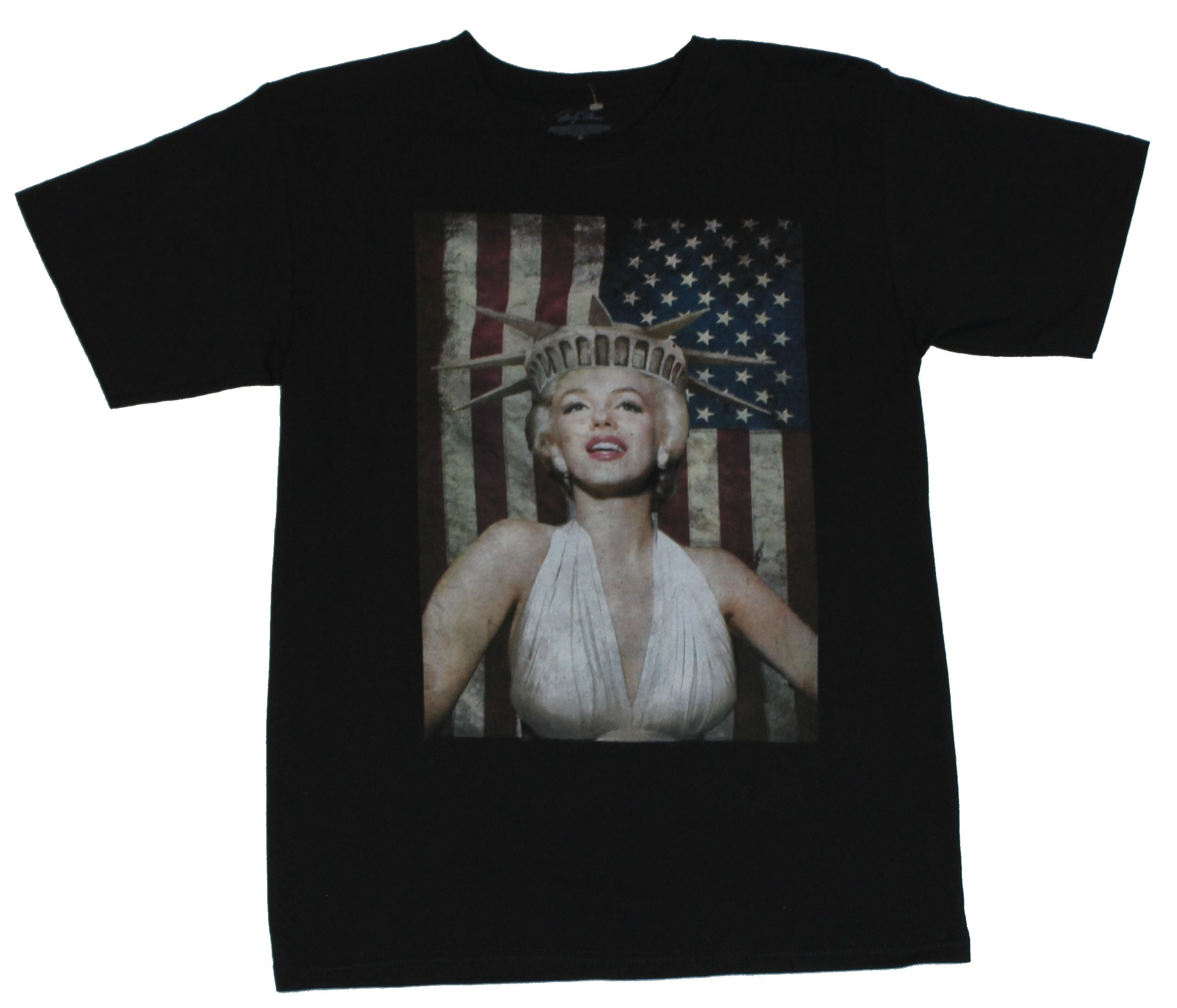 Marylin Monroe Mens T-Shirt - Distressed Statue of Lberty and Flag Image