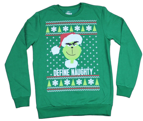 The Grinch Who Stole Christmas  Womens Sweatshirt  - Define Naughty Face Image