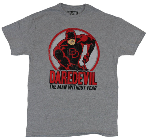 Daredevil (Marvel Comics) Mens T-Shirt - Man Without Fear Approaching Circle Pic