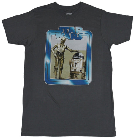Star Wars Mens T-Shirt - Shimmering Blue Logo Around C3po & R2-D2