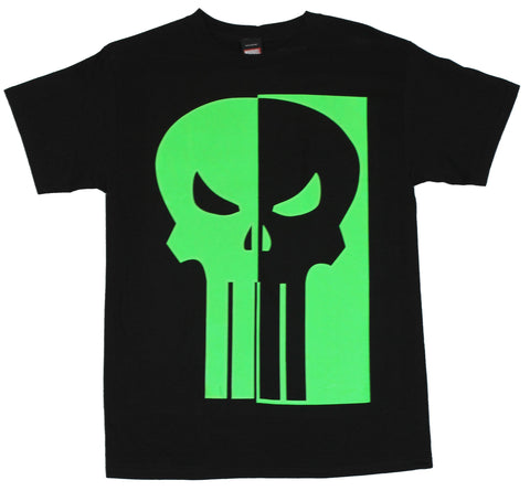 The Punisher (Marvel Comics)  Mens T-Shirt - Green&Black Glow in the Dark Logo