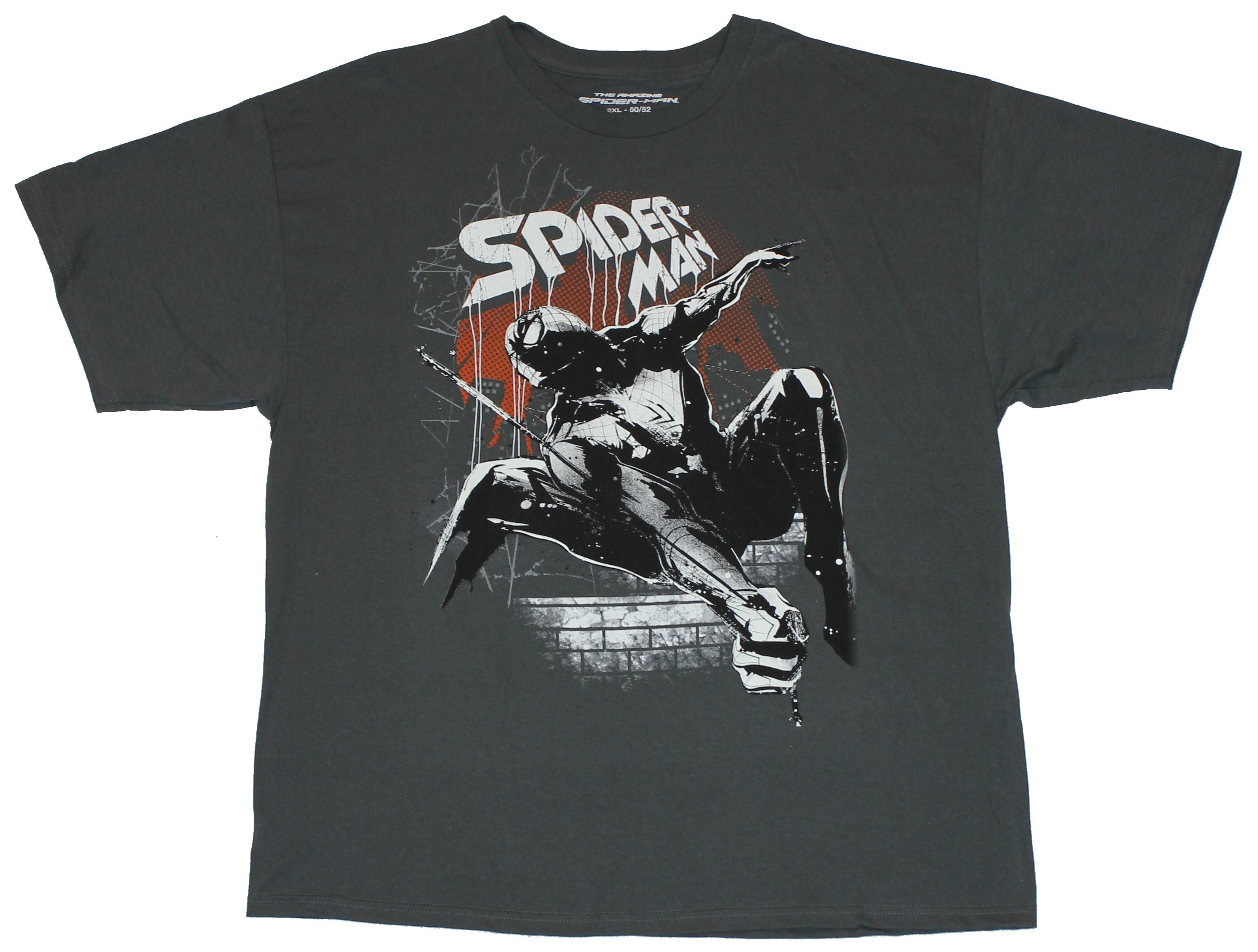Spider-man Marvel Comics Mens T-Shirt - Amazing Swinging In Splatter Glowing Pic
