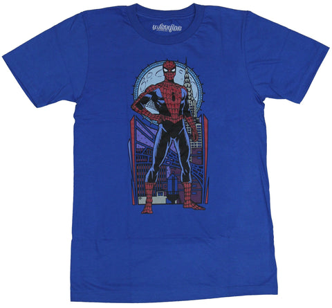Spider-man (Marvel Comics) Mens T-Shirt - Art Nouveau Standing Spidey Image