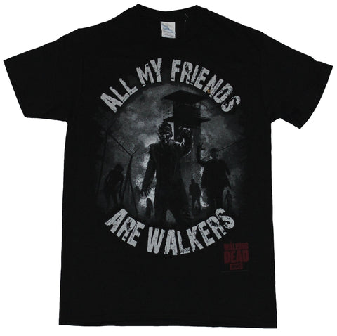 The Walking Dead Mens T-Shirt - All My Friends Are walkers Zombie Prison Image