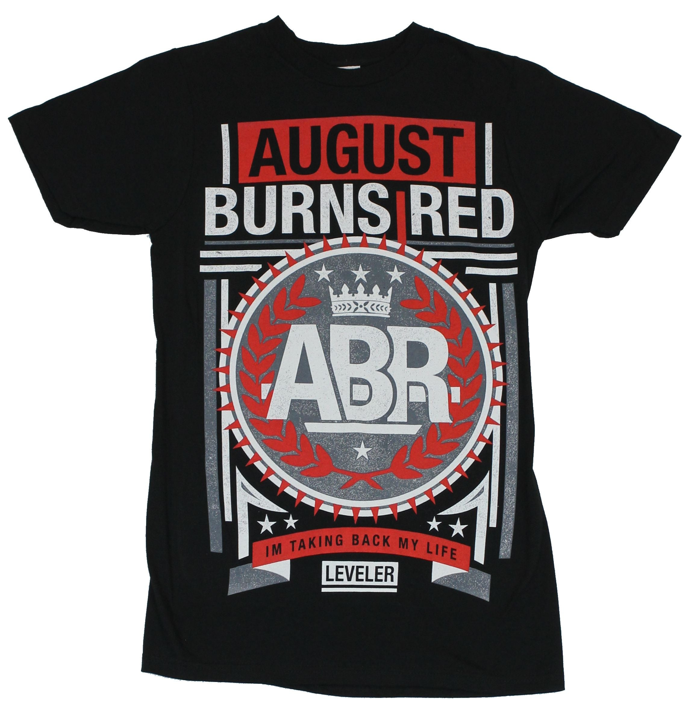 "August Burns Red Mens T-Shirt - Leveler ""I'm Taking Back My Life"" Red Gray Crest"