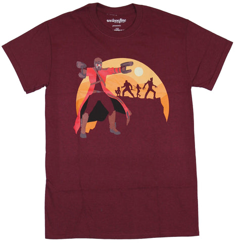 Guardians of the Galaxy Mens T-Shirt - Cartoon Star Lord In Front of Sunset