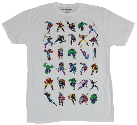 The Avengers (Marvel Comics) Mens T-Shirt - 30 Little Action Shots of the Team