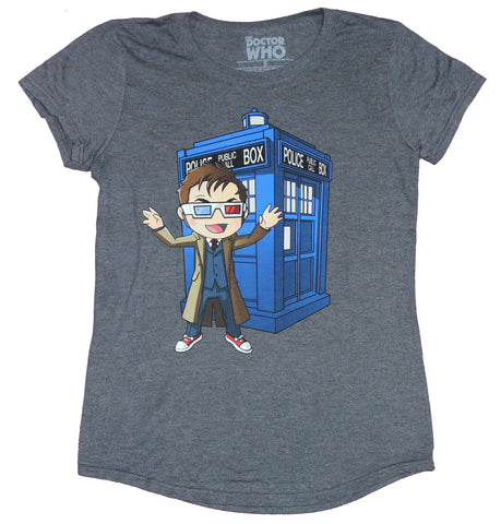 Doctor Who Girls Juniors T-Shirt - Cartoon Styled 3-D Glasses Image