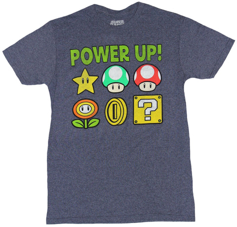 Super Mario Brothers Mens T-Shirt - Power Up! 6 Classic Items