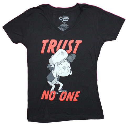 Gravity Falls Girls Juniors T-Shirt - Trust No One Dipper In Red Words Image